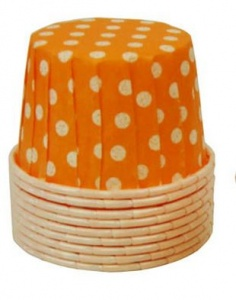 20 Orange and White Polka Dot BAKING CUPS